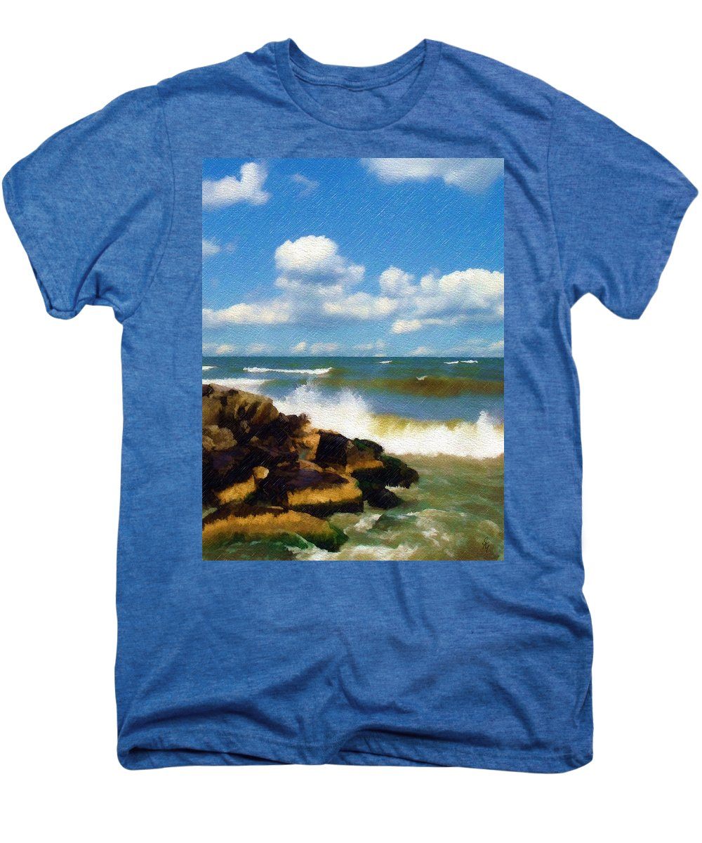 Seascape Men's Premium T-Shirt featuring the photograph Crashing Into Shore by Sandy MacGowan