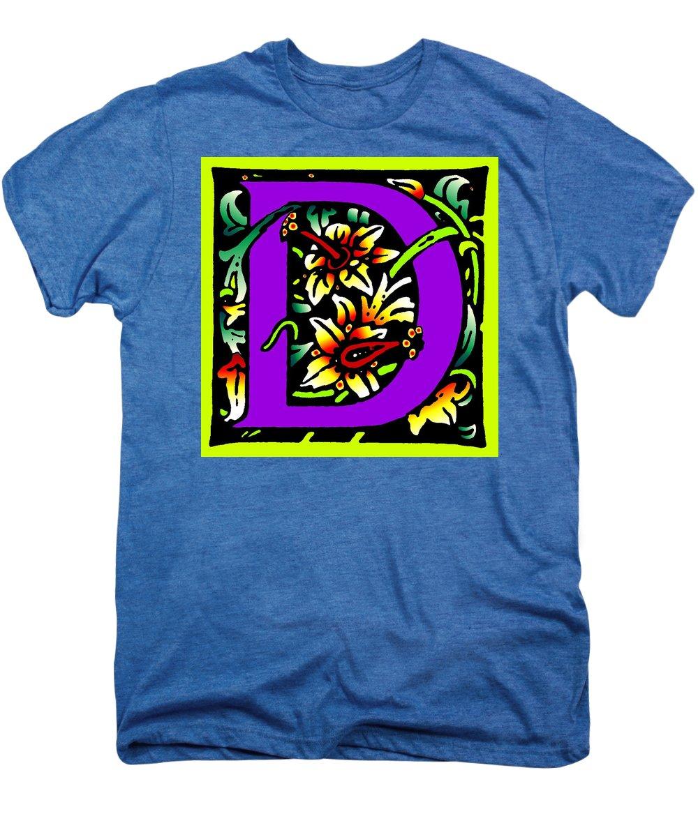 Alphabet Men's Premium T-Shirt featuring the digital art D In Purple by Kathleen Sepulveda