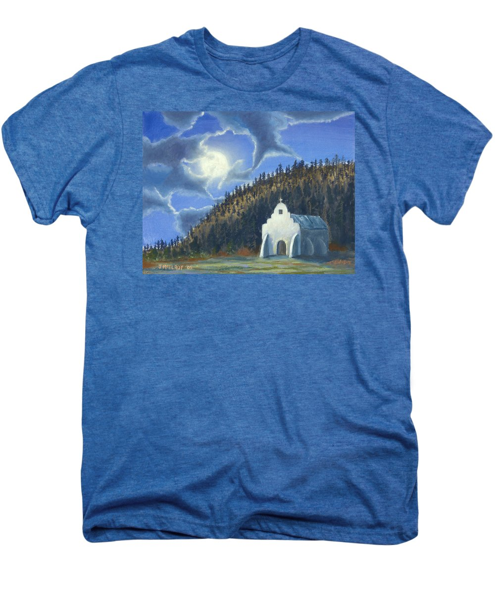 Landscape Men's Premium T-Shirt featuring the painting Dancing In The Moonlight by Jerry McElroy