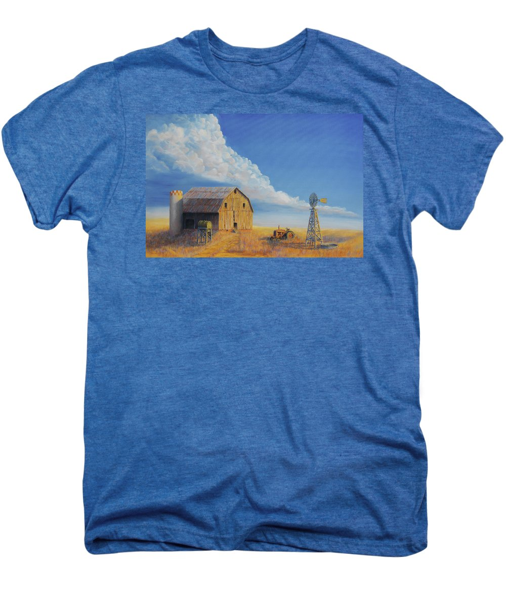 Barn Men's Premium T-Shirt featuring the painting Downtown Wyoming by Jerry McElroy