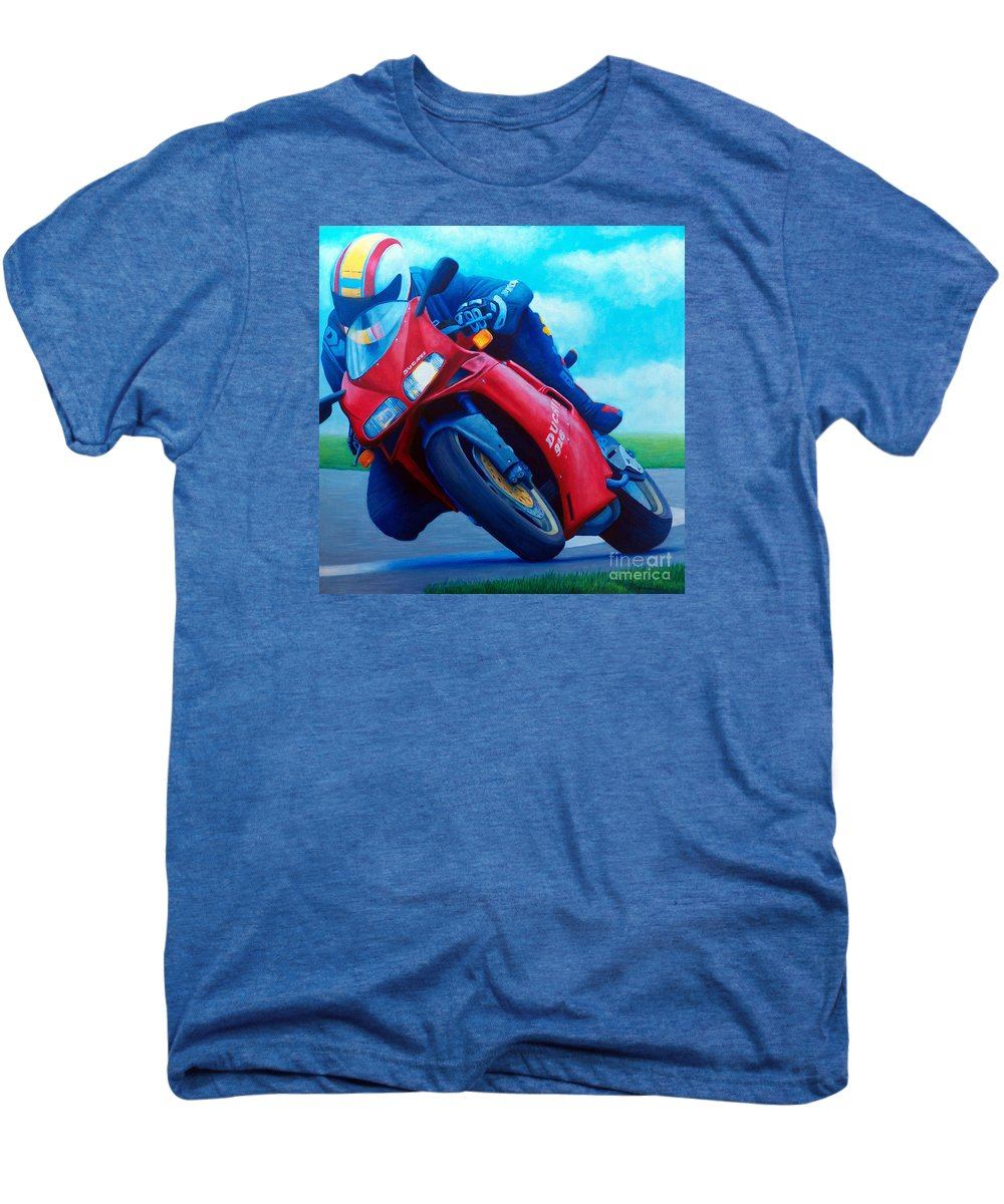 Motorcycle Men's Premium T-Shirt featuring the painting Ducati 916 by Brian Commerford