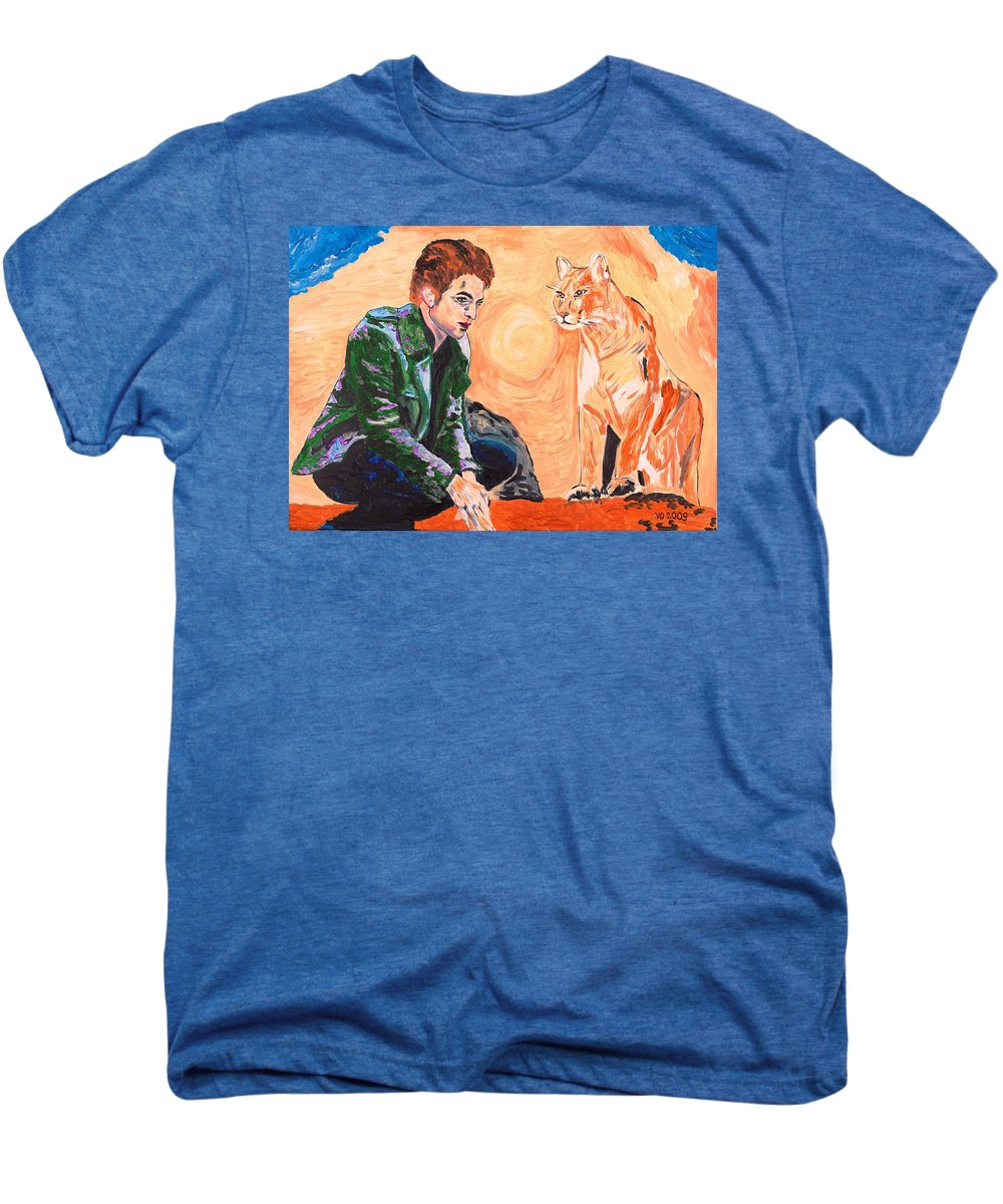 Edward Men's Premium T-Shirt featuring the painting Edward Cullen And His Diet by Valerie Ornstein