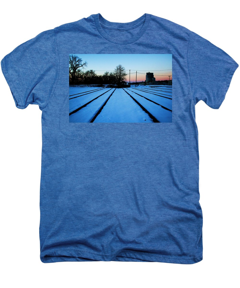 Sunset Men's Premium T-Shirt featuring the photograph End Of The Tracks by Angus Hooper Iii