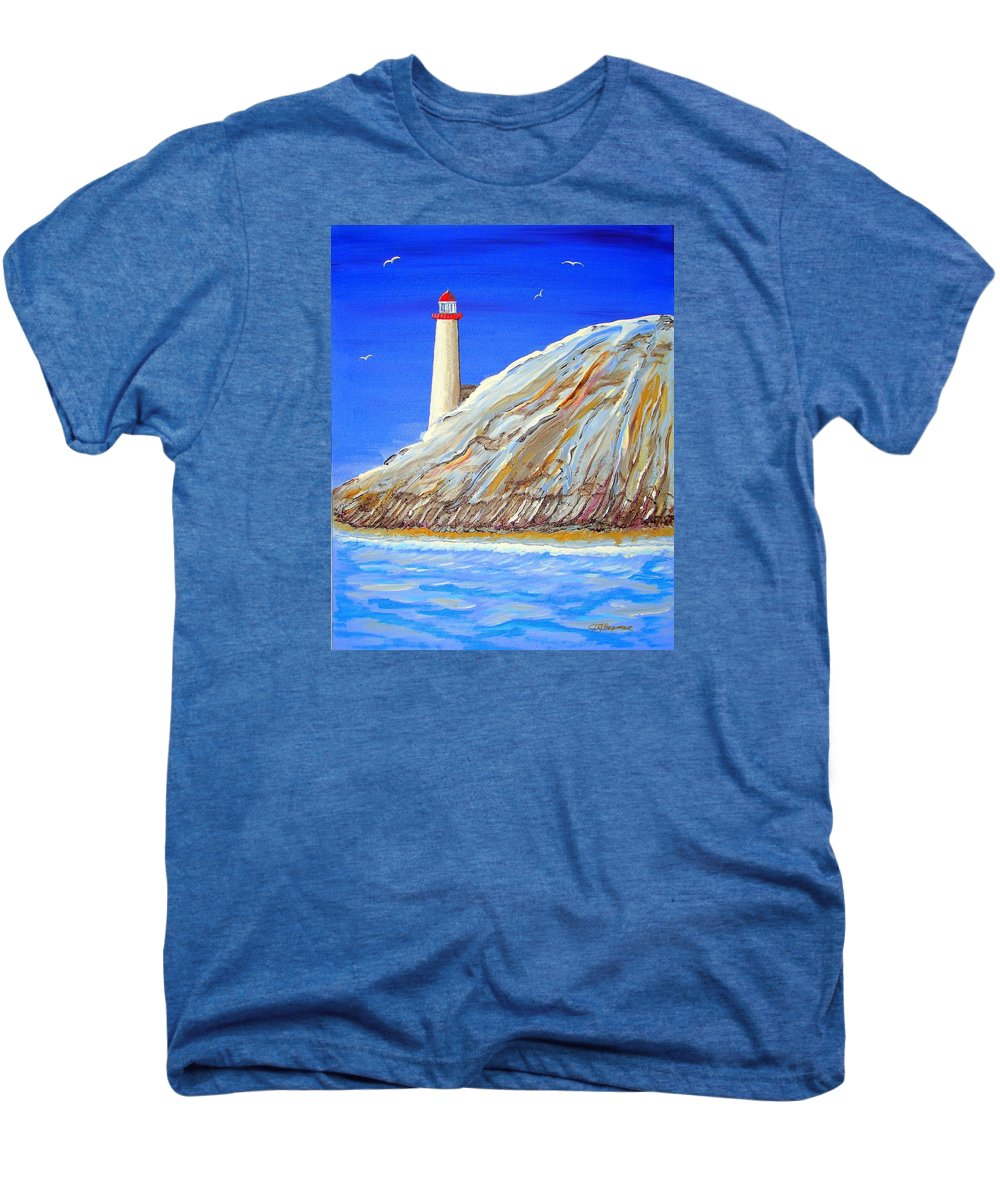 Lighthouse Men's Premium T-Shirt featuring the painting Entering The Harbor by J R Seymour
