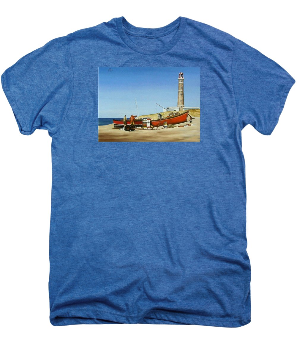 Lighthouse Fishermen Sea Seascape Men's Premium T-Shirt featuring the painting Fishermen By Lighthouse by Natalia Tejera