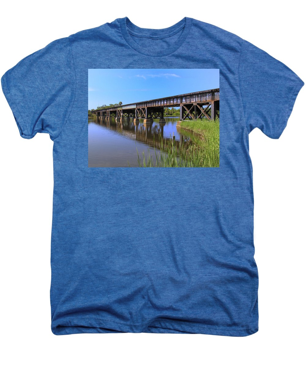 Florida; East Coast; Railroad; Railway; Track; Bridge; Trestle; Road; Roadbed; Bed; Ties; Engine; Lo Men's Premium T-Shirt featuring the photograph Florida East Coast Railroad Bridge by Allan Hughes