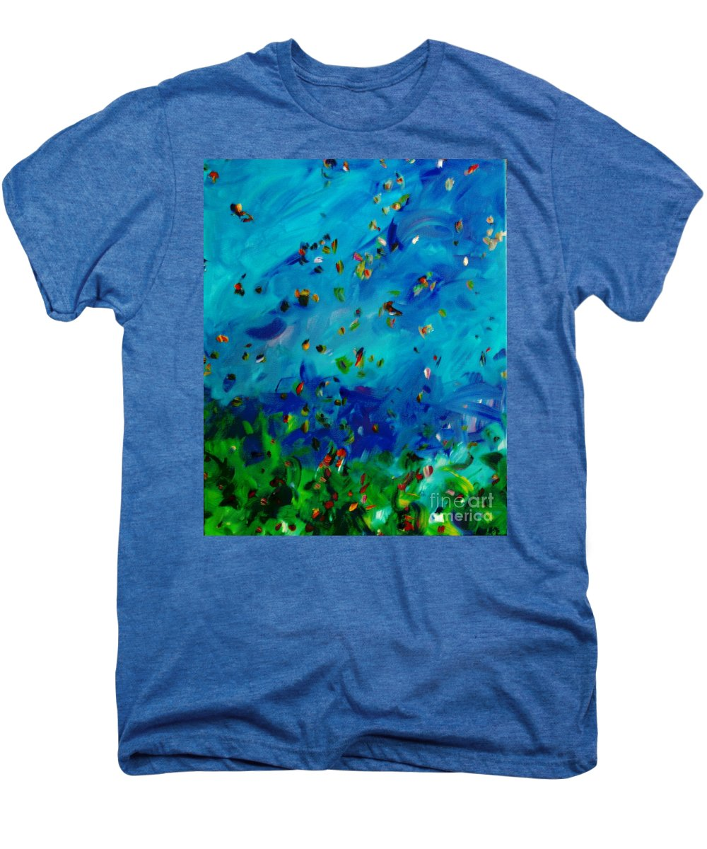 Landscape Men's Premium T-Shirt featuring the painting Freelancing by Reina Resto