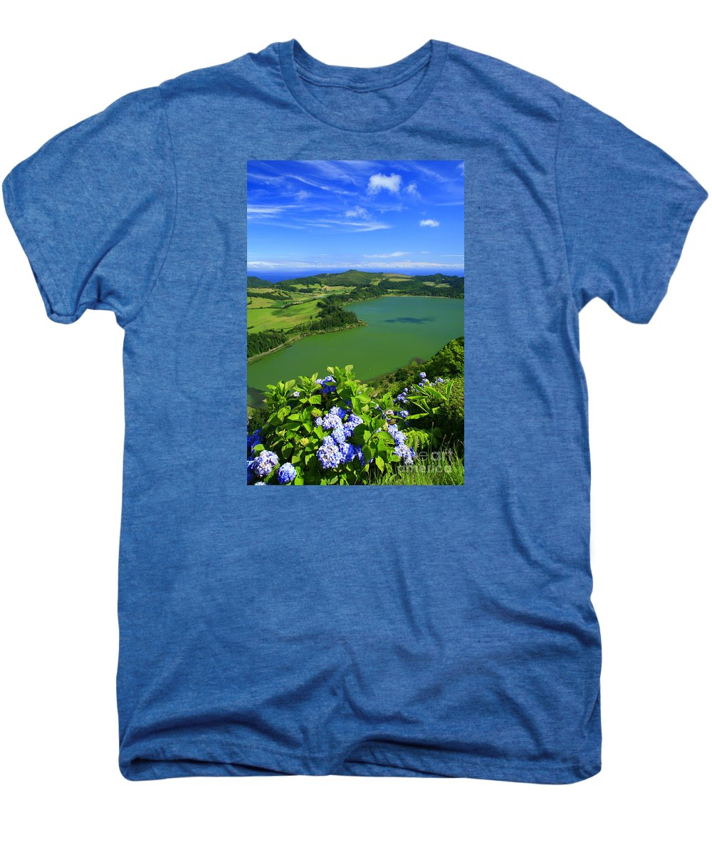 Azores Men's Premium T-Shirt featuring the photograph Furnas Lake by Gaspar Avila