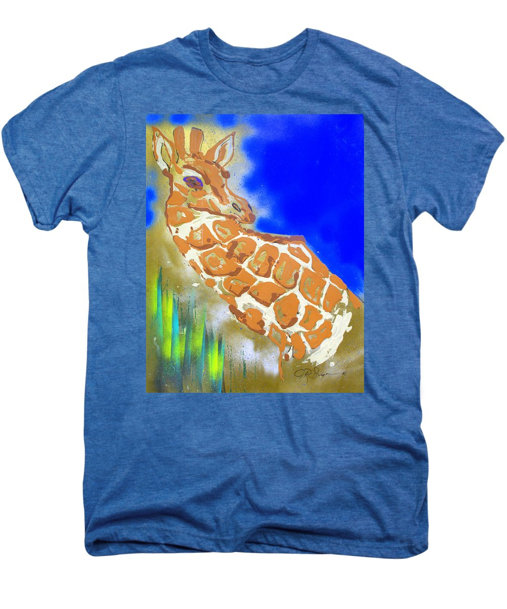 Giraffe Men's Premium T-Shirt featuring the painting Giraffe by J R Seymour