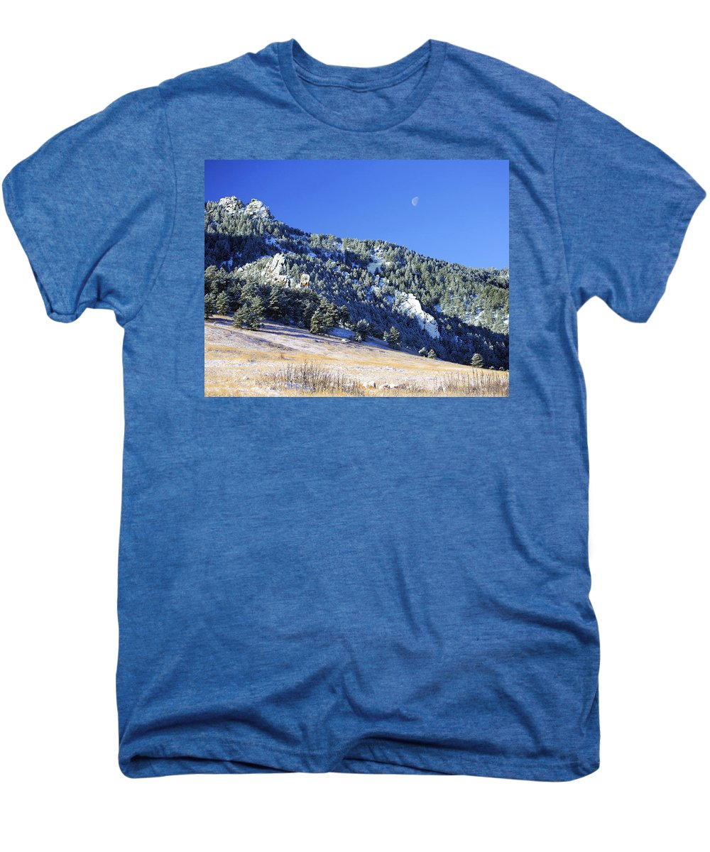 Nature Men's Premium T-Shirt featuring the photograph Half Moon Over The Flatirons by Marilyn Hunt
