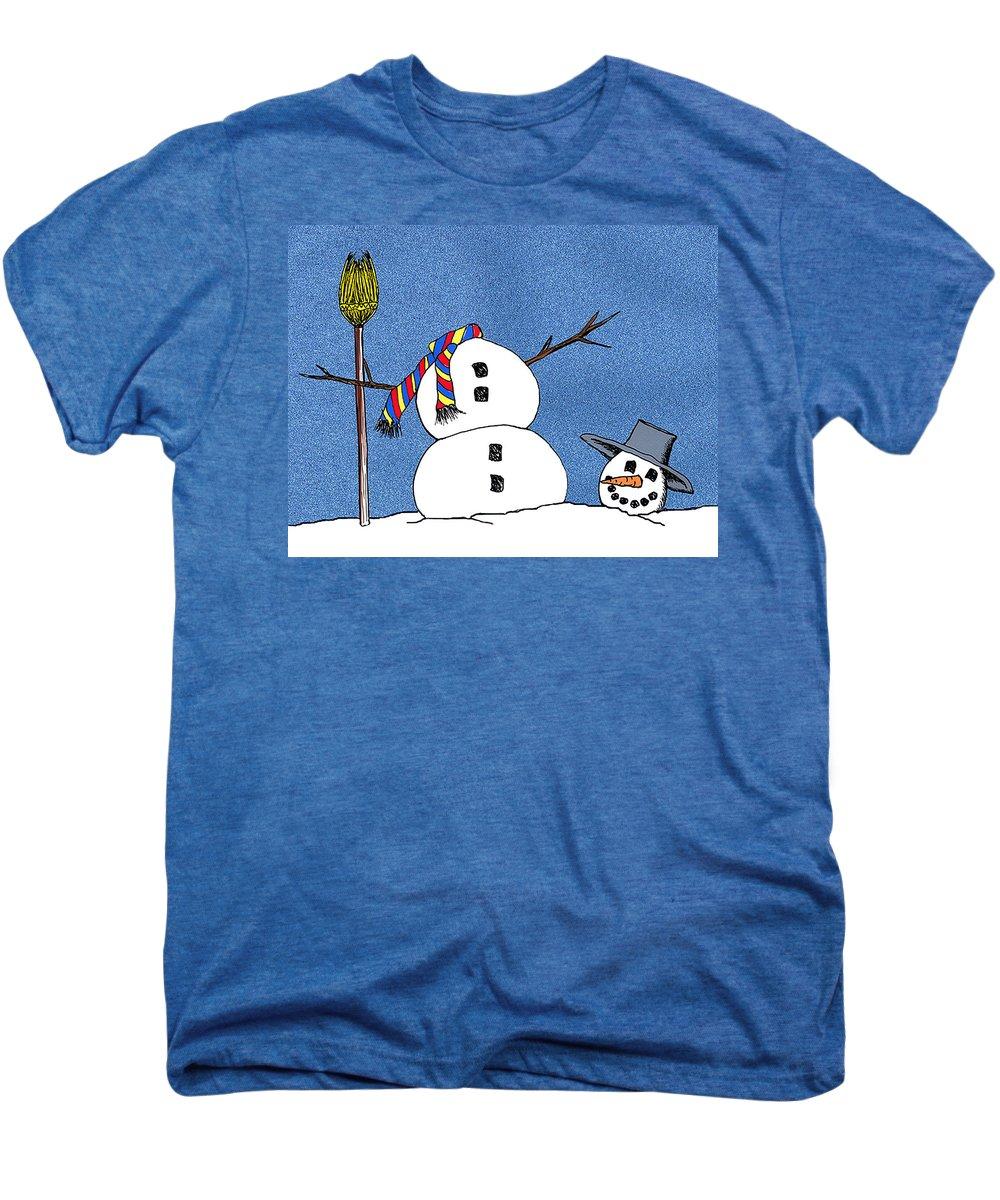 Snowman Men's Premium T-Shirt featuring the digital art Headless Snowman by Nancy Mueller