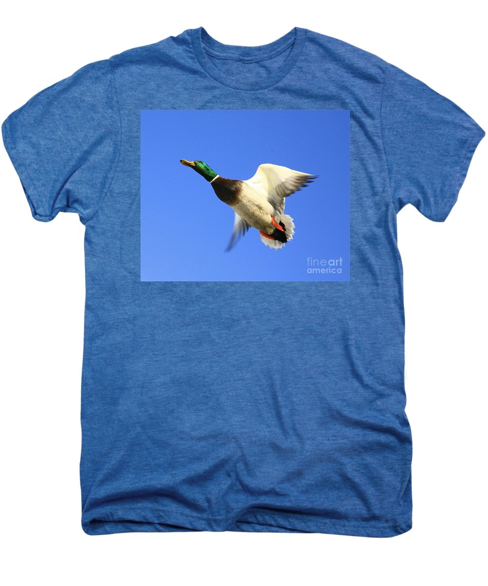 Duck Men's Premium T-Shirt featuring the photograph Heads Up by Robert Pearson