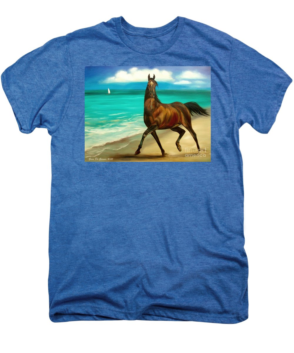 Horse Men's Premium T-Shirt featuring the painting Horses In Paradise Dance by Gina De Gorna