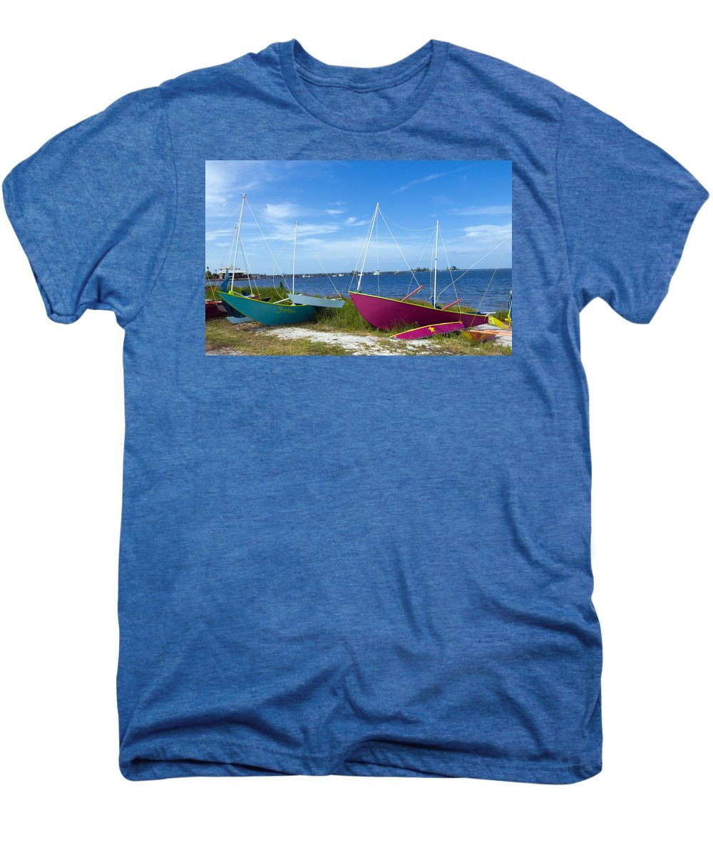 Sail; Sailing; Boat; Sailboat; Mast; Plywood; Homemade; Boy; Scouts; Fleet; Class; Dragon; Tiller; F Men's Premium T-Shirt featuring the photograph Indian River Lagoon On The Easr Coast Of Florida by Allan Hughes