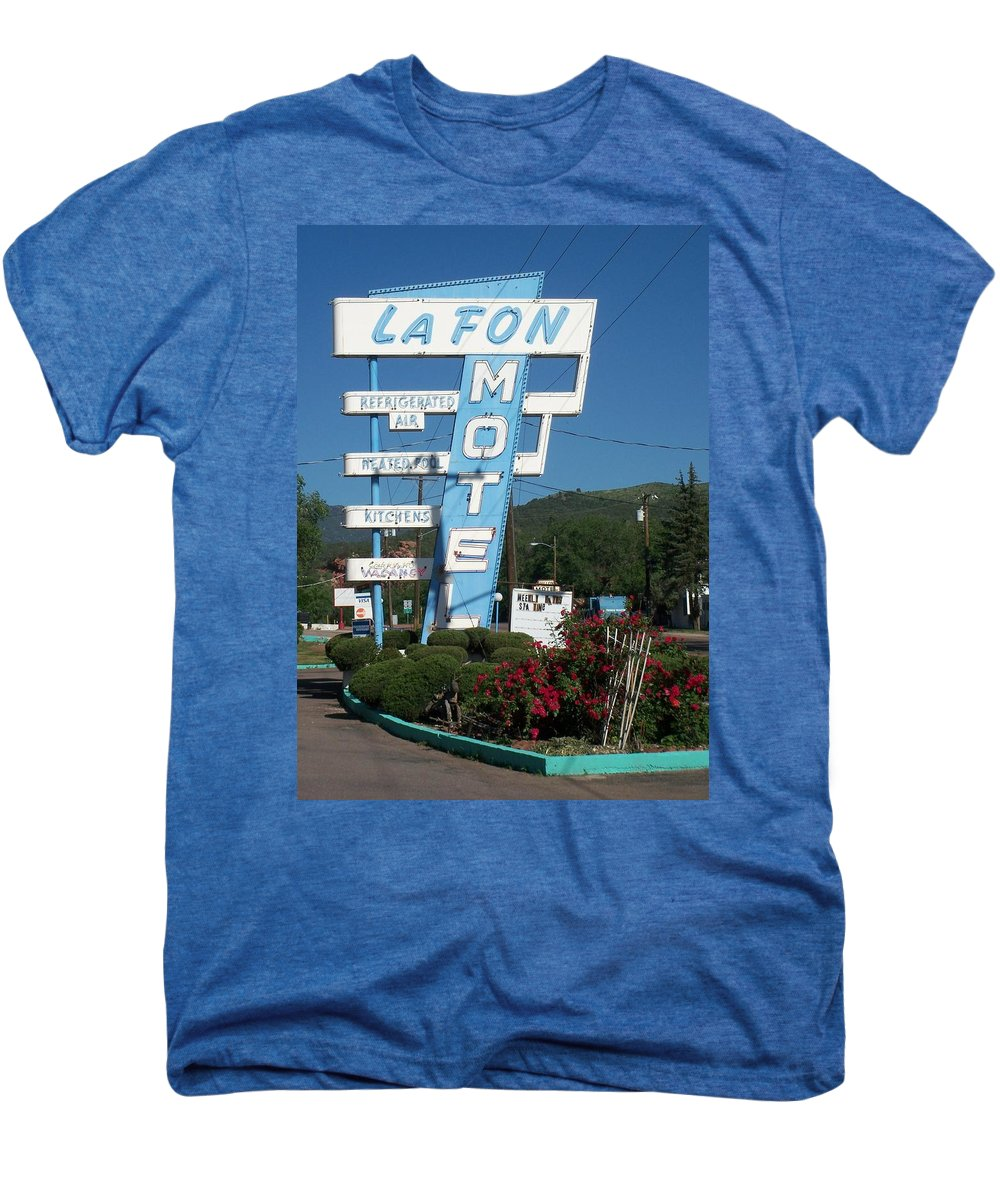 Vintage Motel Signs Men's Premium T-Shirt featuring the photograph Lafon Motel by Anita Burgermeister