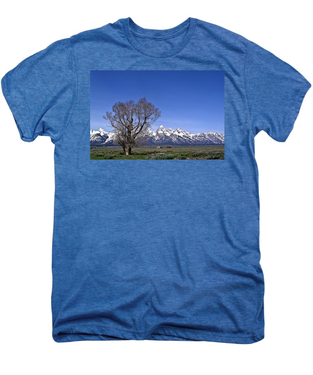 Tree Men's Premium T-Shirt featuring the photograph Lone Tree At Tetons by Douglas Barnett