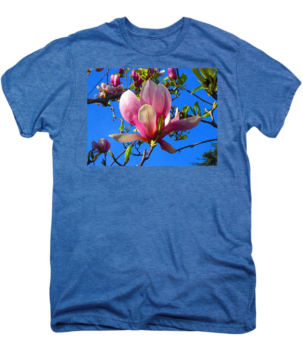 Magnolia Men's Premium T-Shirt featuring the painting Magnolia Flower by Amy Vangsgard