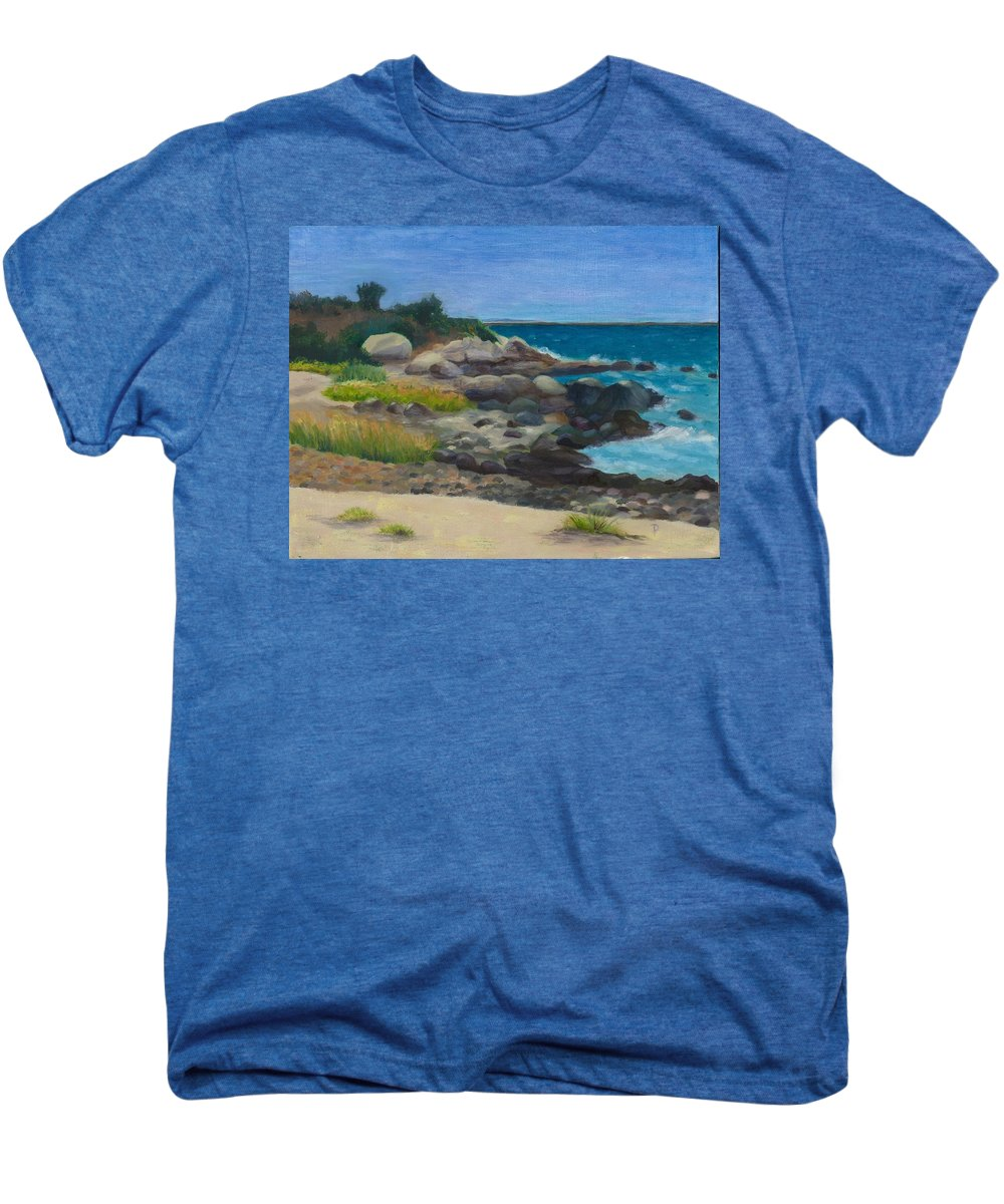 Landscape Men's Premium T-Shirt featuring the painting Meigs Point by Paula Emery