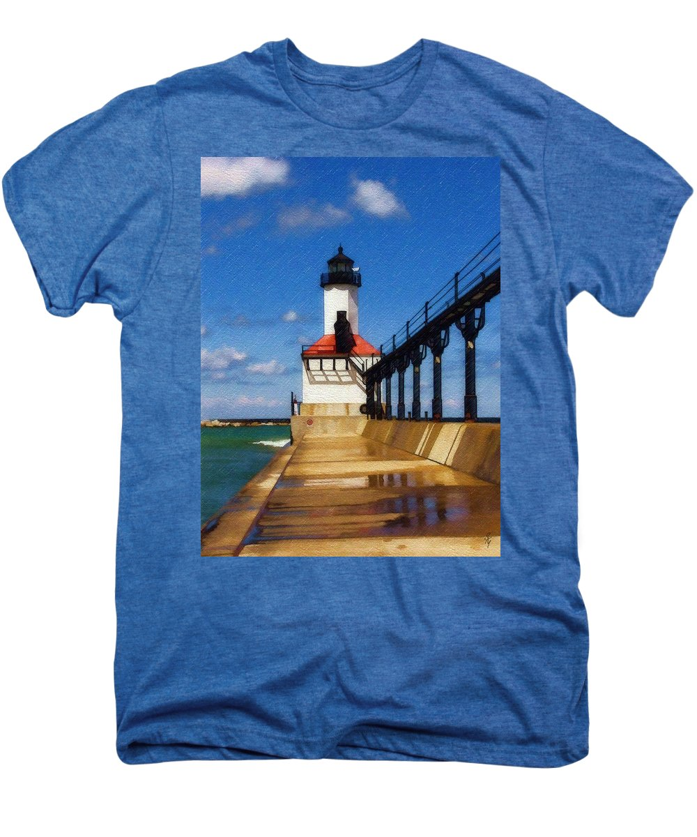 Lighthouse Men's Premium T-Shirt featuring the photograph Michigan City Light 1 by Sandy MacGowan