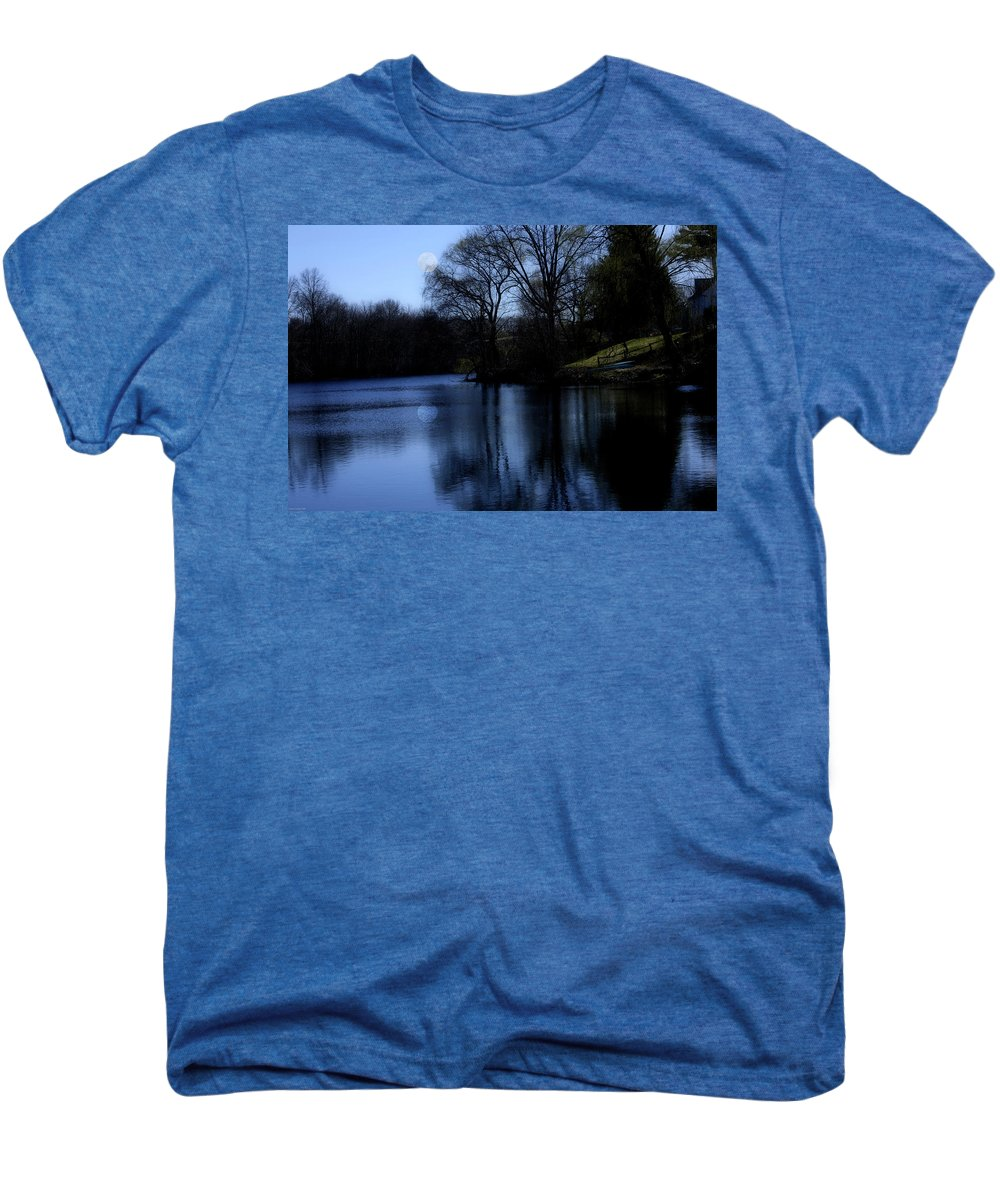 Moon Men's Premium T-Shirt featuring the digital art Moon Over The Charles by Edward Cardini