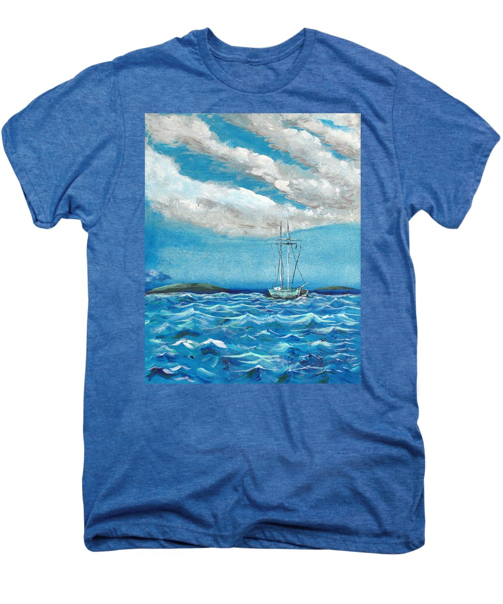 Impressionism Men's Premium T-Shirt featuring the painting Moored In The Bay by J R Seymour