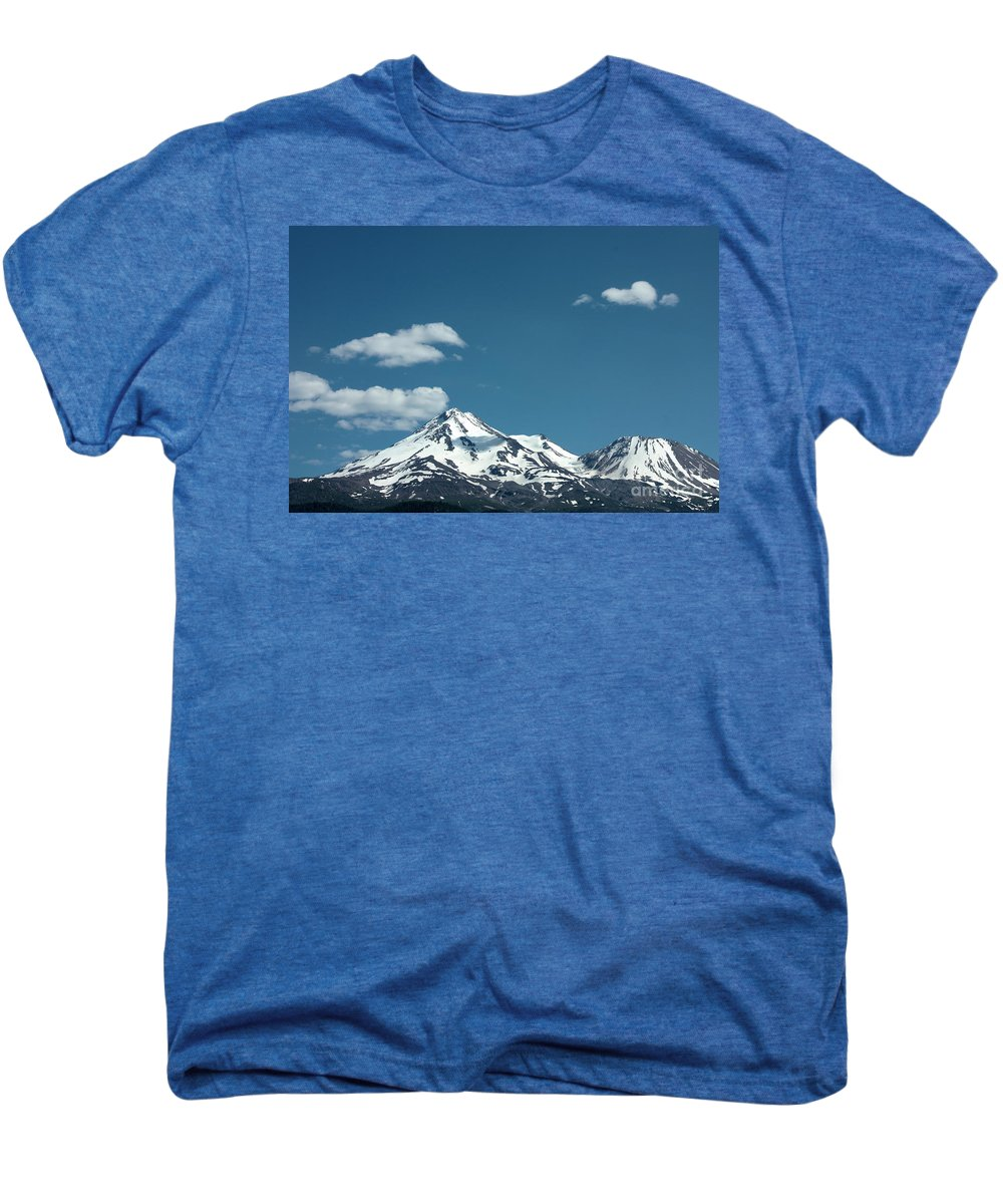 Cloud Men's Premium T-Shirt featuring the photograph Mt Shasta With Heart-shaped Cloud by Carol Groenen