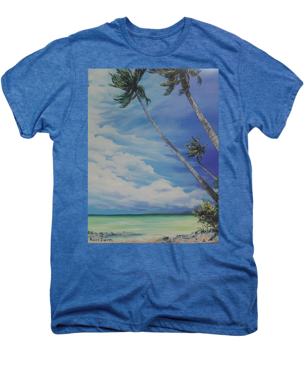 Trinidad And Tobago Seascape Men's Premium T-Shirt featuring the painting Nylon Pool Tobago. by Karin Dawn Kelshall- Best