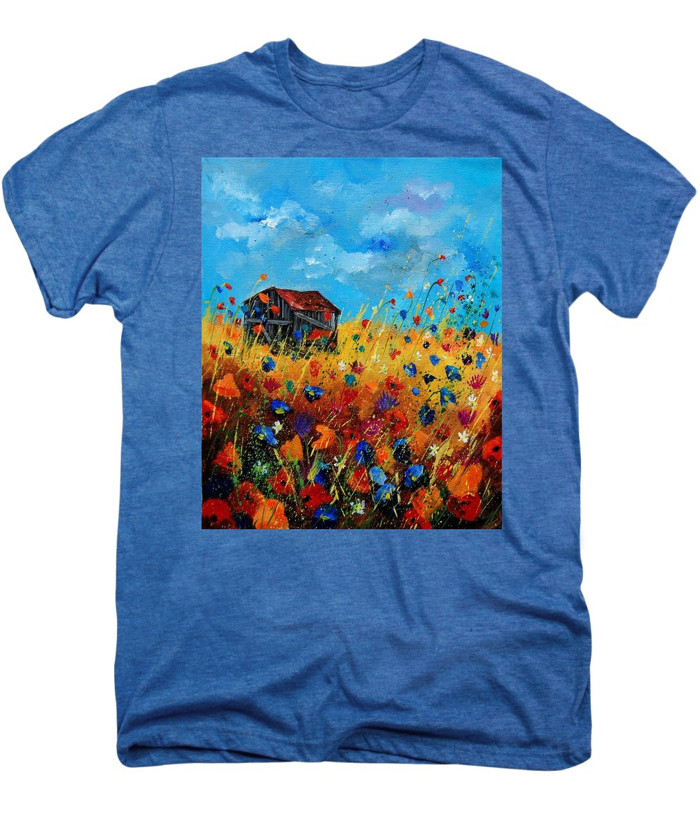 Poppies Men's Premium T-Shirt featuring the painting Old Barn by Pol Ledent