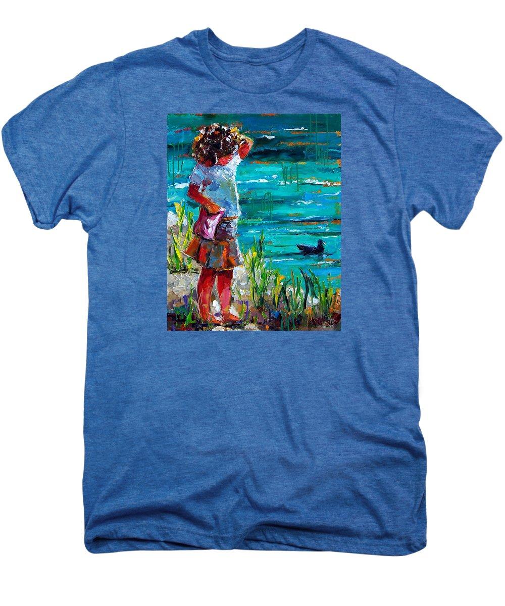 Children Men's Premium T-Shirt featuring the painting One Lucky Duck by Debra Hurd
