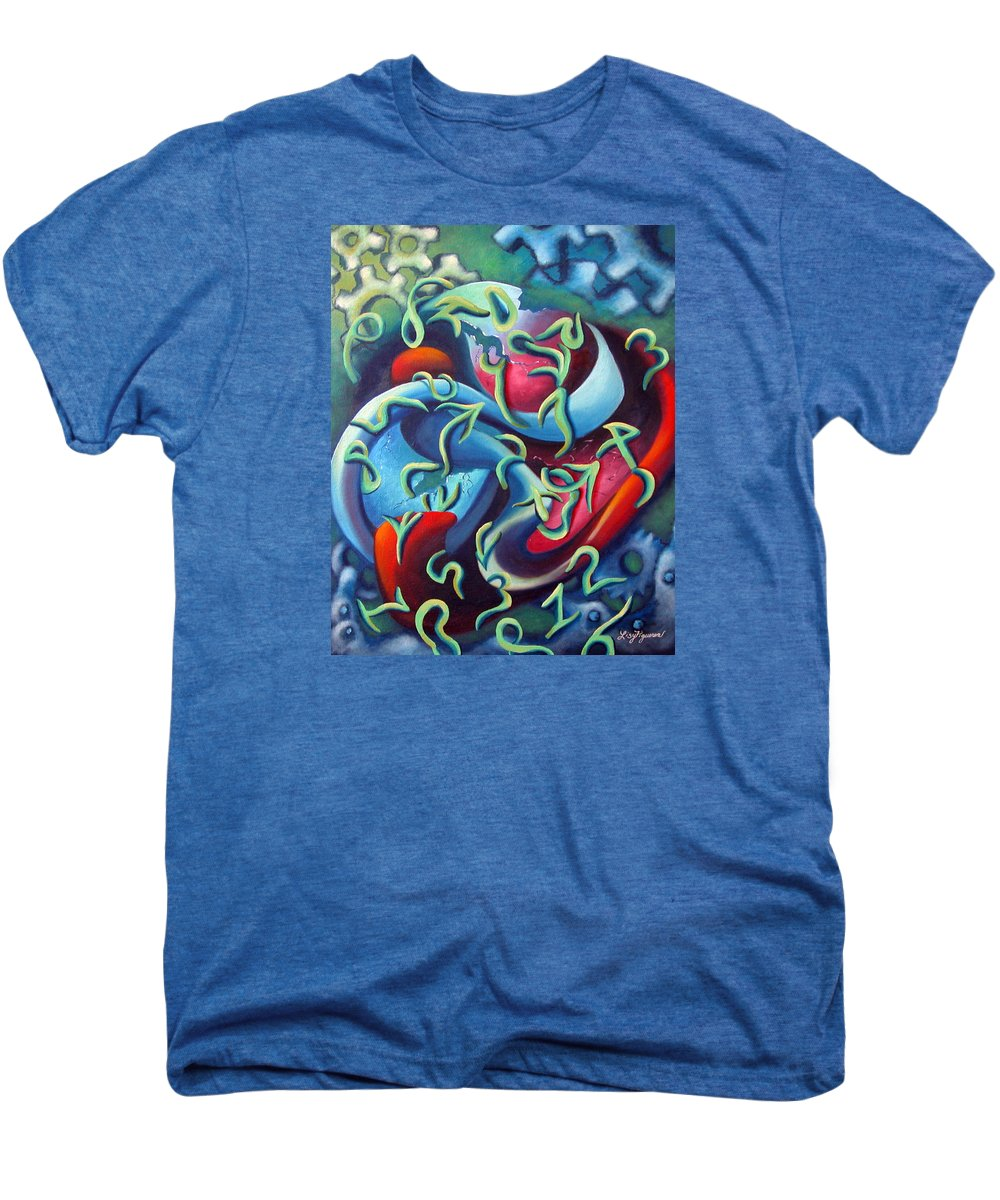 Clocks Men's Premium T-Shirt featuring the painting Our Inner Clocks by Elizabeth Lisy Figueroa