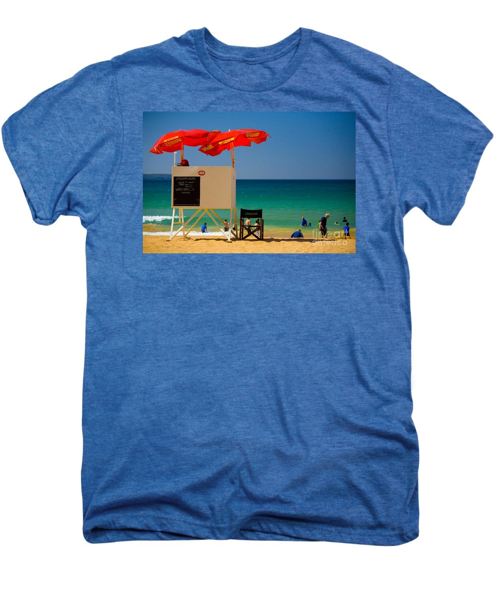 Palm Beach Sun Sea Sky Beach Umbrellas Men's Premium T-Shirt featuring the photograph Palm Beach Dreaming by Sheila Smart Fine Art Photography
