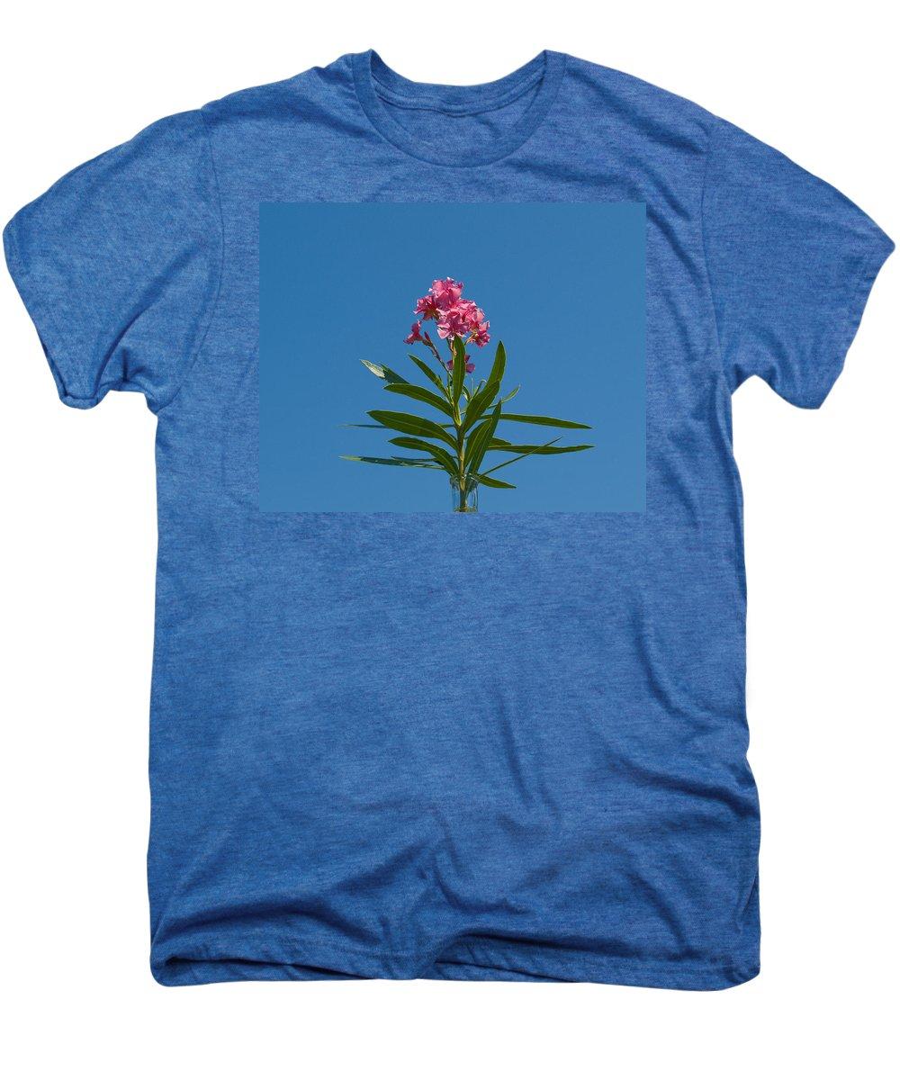 Florida; Indian; River; Melbourne; Nerium; Oleander; Red; Pink; Flower; Bush; Shrub; Poison; Poisono Men's Premium T-Shirt featuring the photograph Pink Florida Oleander Blossom by Allan Hughes