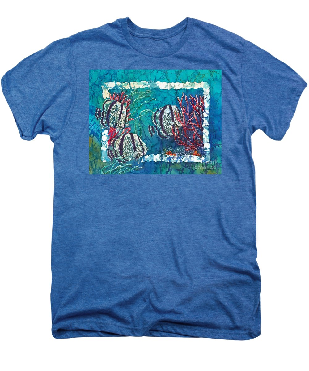 Fish Men's Premium T-Shirt featuring the painting Playful Trio by Sue Duda