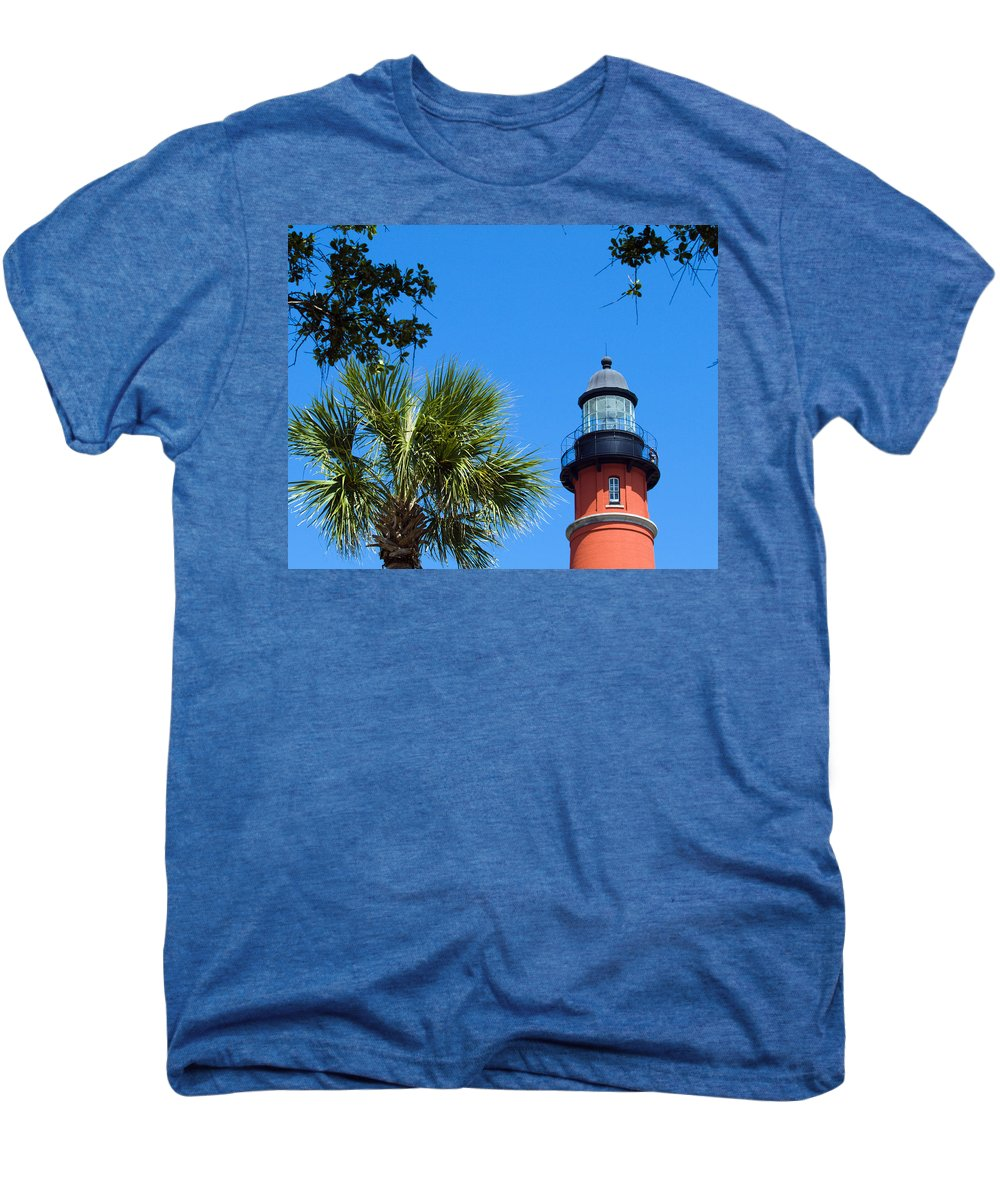 Ponce; De; Leon; Lighthouse; Light; House; Beacon; Navigation; Aid; Lens; Fresnel; Mosquito; Florida Men's Premium T-Shirt featuring the photograph Ponce Del Leon Inlet Florida by Allan Hughes