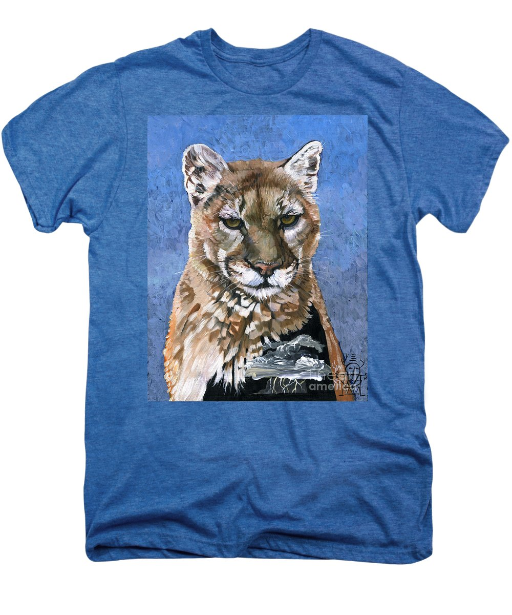 Puma Men's Premium T-Shirt featuring the painting Puma - The Hunter by J W Baker