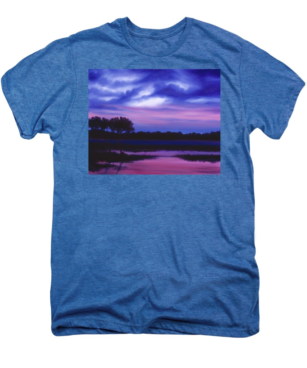 Sunrise Men's Premium T-Shirt featuring the painting Purple Landscape Or Jean's Clearing by James Christopher Hill