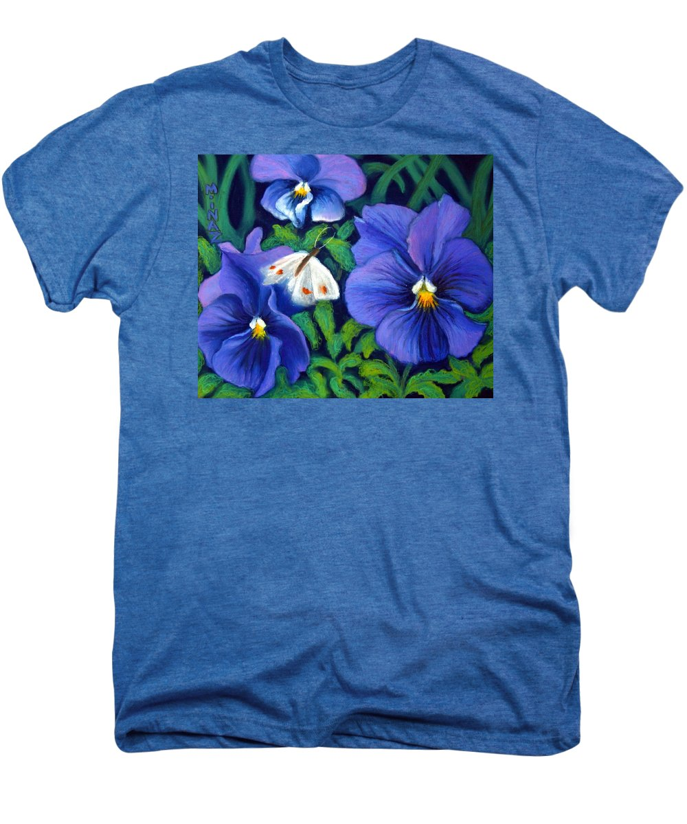 Pansy Men's Premium T-Shirt featuring the painting Purple Pansies And White Moth by Minaz Jantz