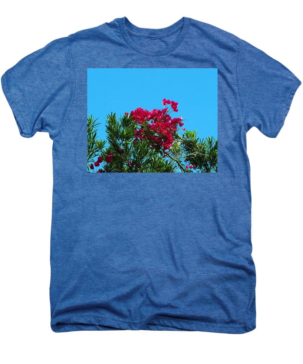 Red; Bougainvillea; Glabra; Juniperus; Vitginiana; Silicicola; Coastal; Cedar; Tree; Vine; Grow; Gro Men's Premium T-Shirt featuring the photograph Red Bougainvillea Glabra Vine by Allan Hughes