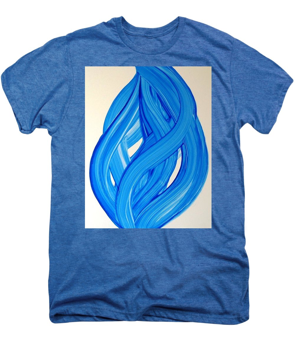 Abstract Modern Contemporary Yupo Art Painting Romantic Pop Blue Men's Premium T-Shirt featuring the painting Ribbons Of Love-blue by Manjiri Kanvinde