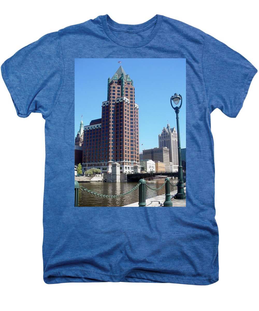 Milwaukee Men's Premium T-Shirt featuring the photograph River Walk View Photo by Anita Burgermeister