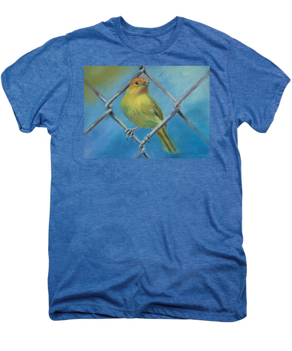Bird Men's Premium T-Shirt featuring the painting Safron Finch by Ceci Watson
