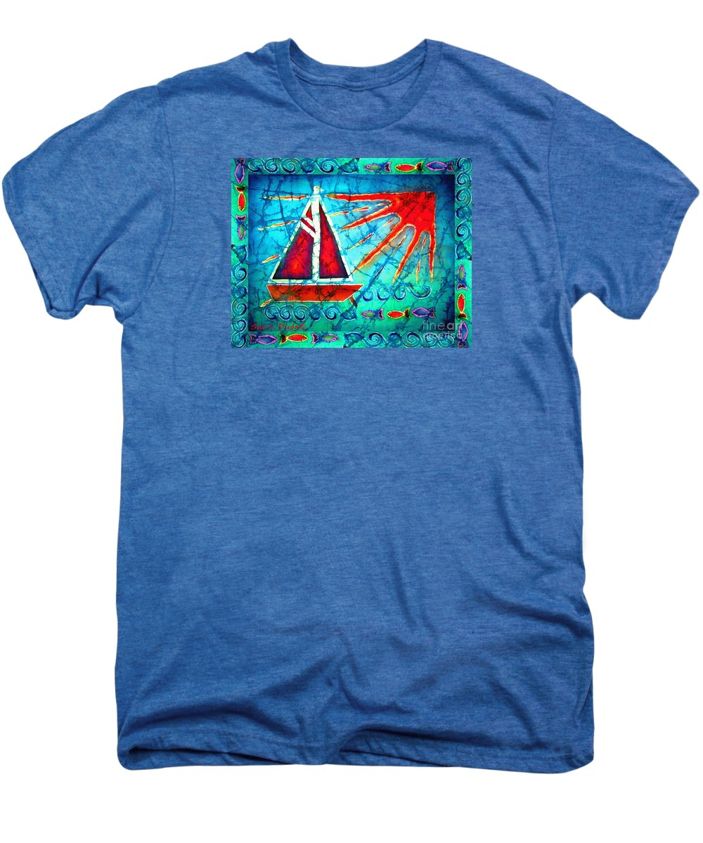 Sailboat Men's Premium T-Shirt featuring the painting Sailboat In The Sun by Sue Duda