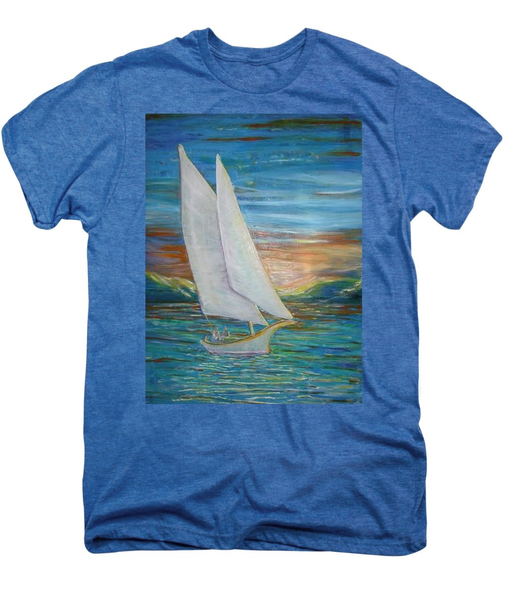 Sailboat Men's Premium T-Shirt featuring the painting Saturday Sail by Regina Walsh