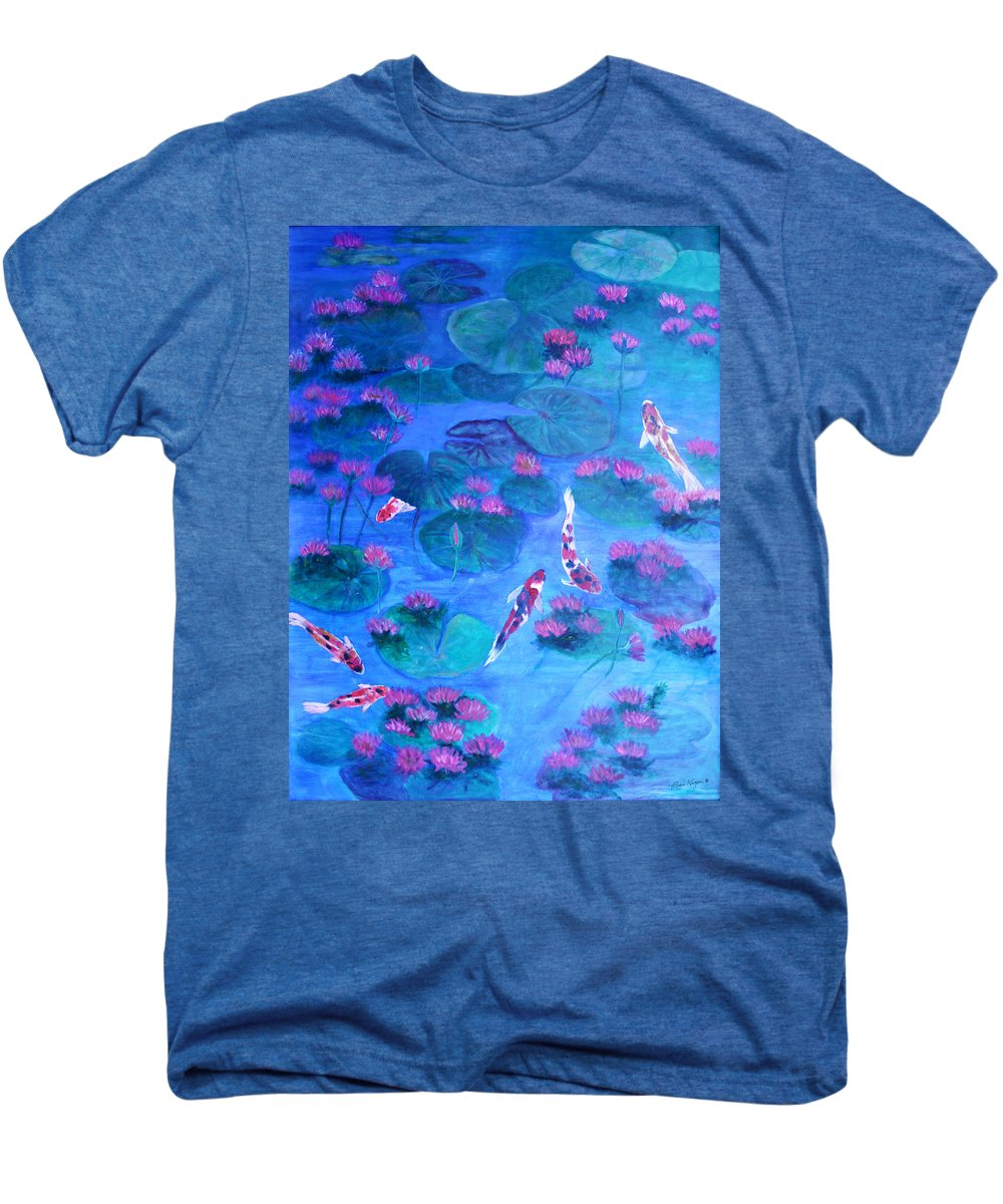 Lily Pads Men's Premium T-Shirt featuring the painting Serene Pond by Ben Kiger