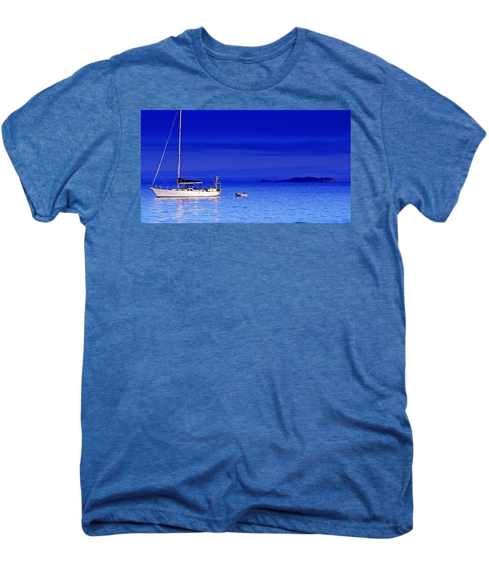 Transportation. Boats Men's Premium T-Shirt featuring the photograph Serene Seas by Holly Kempe