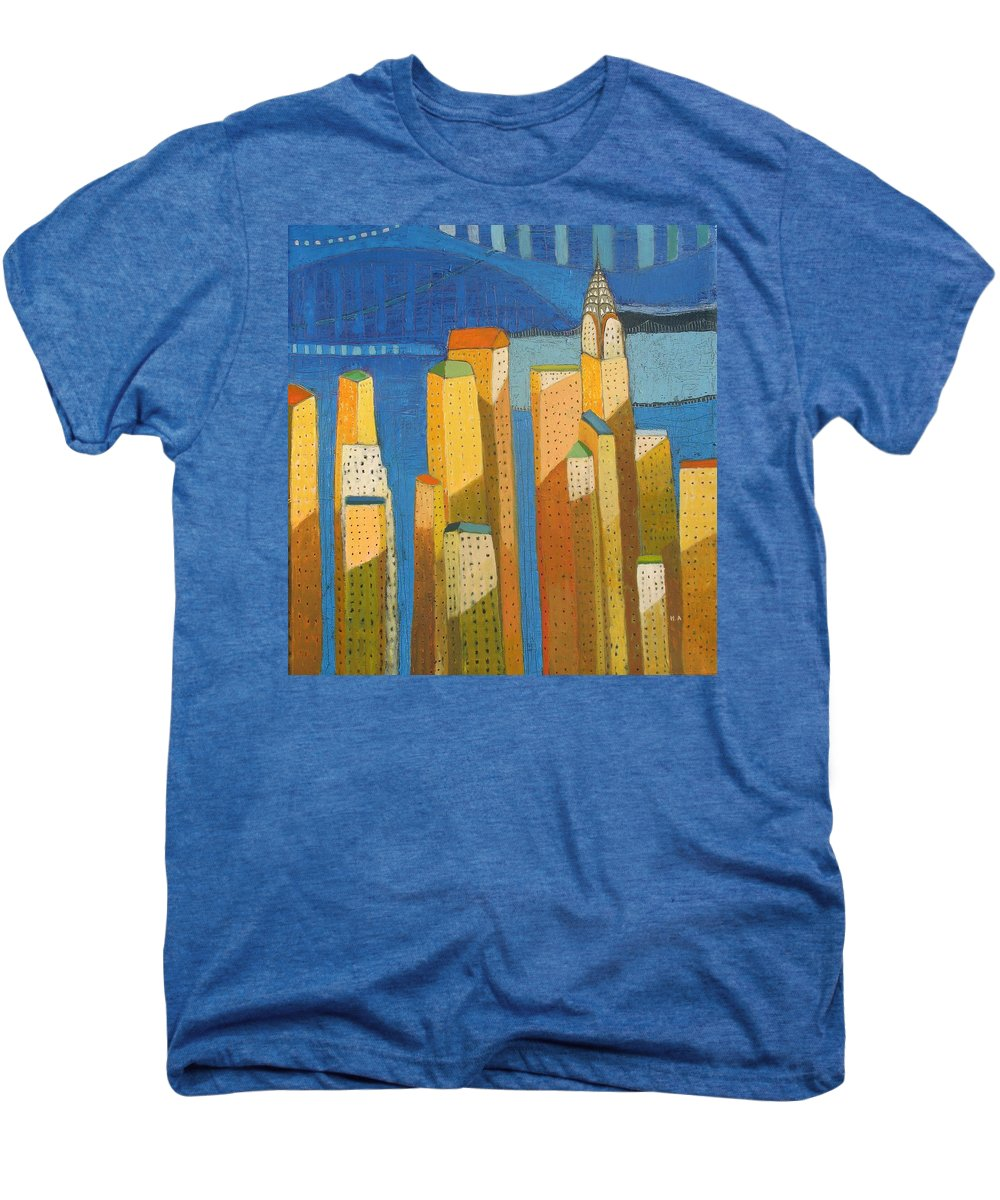 Abstract Cityscape Men's Premium T-Shirt featuring the painting Standing High by Habib Ayat