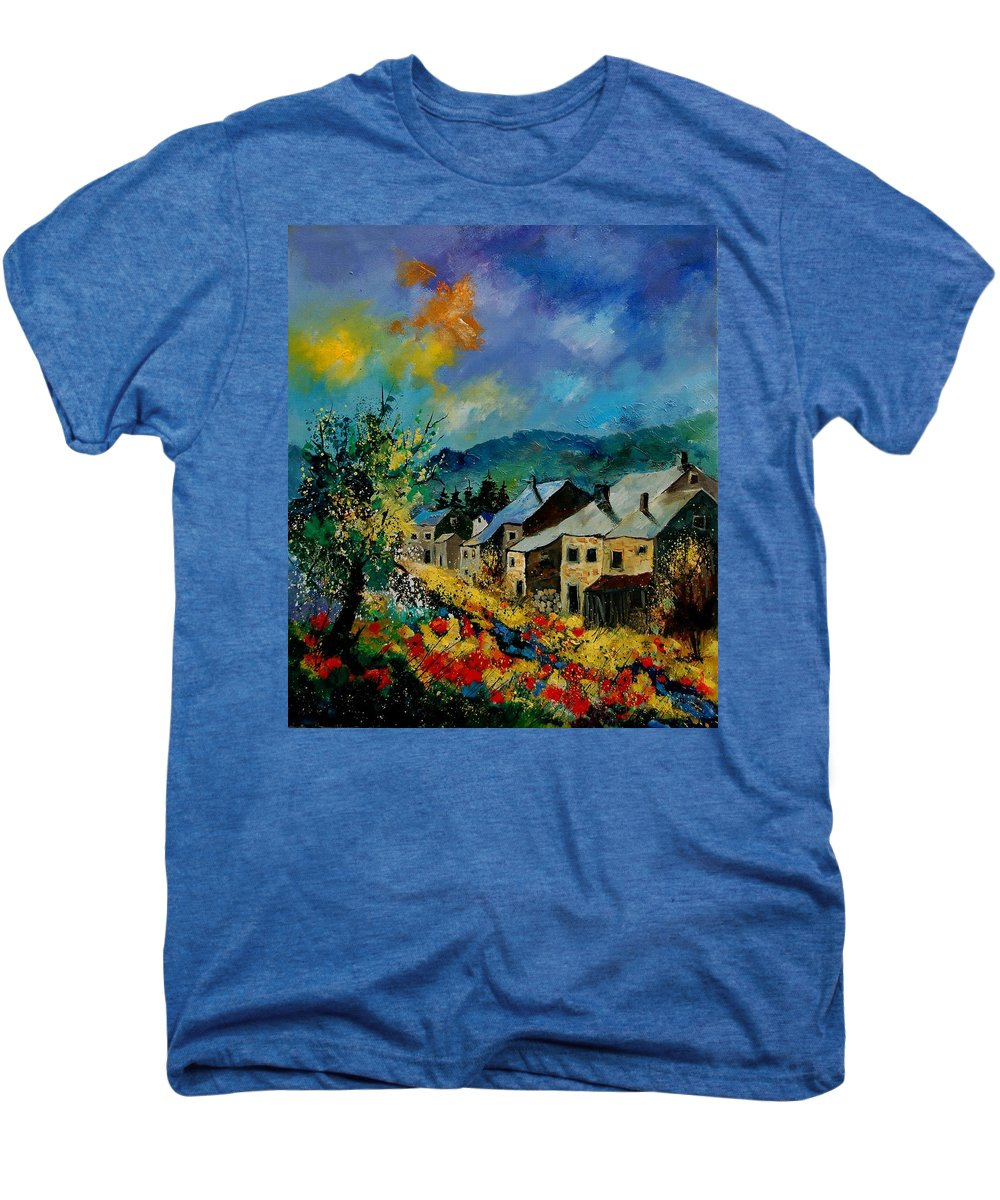 Poppies Men's Premium T-Shirt featuring the painting Summer In Mogimont by Pol Ledent
