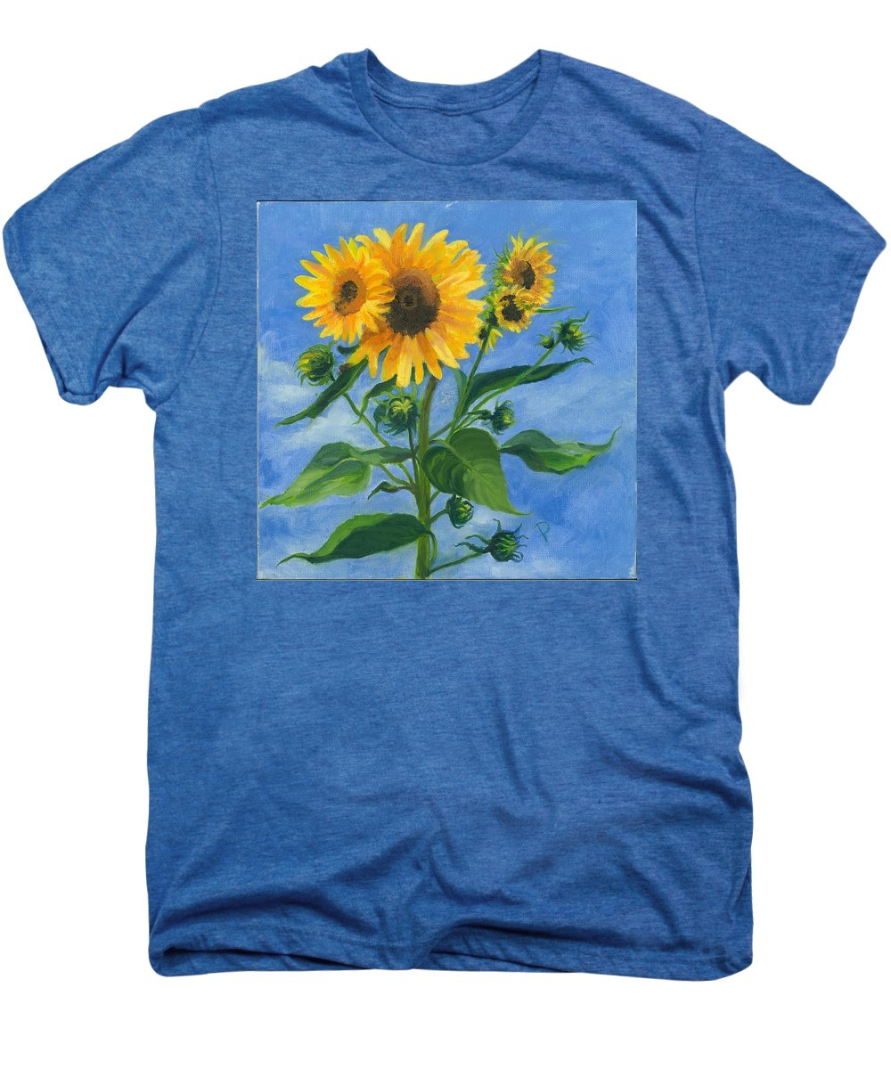 Flowers Men's Premium T-Shirt featuring the painting Sunflowers On Bauer Farm by Paula Emery