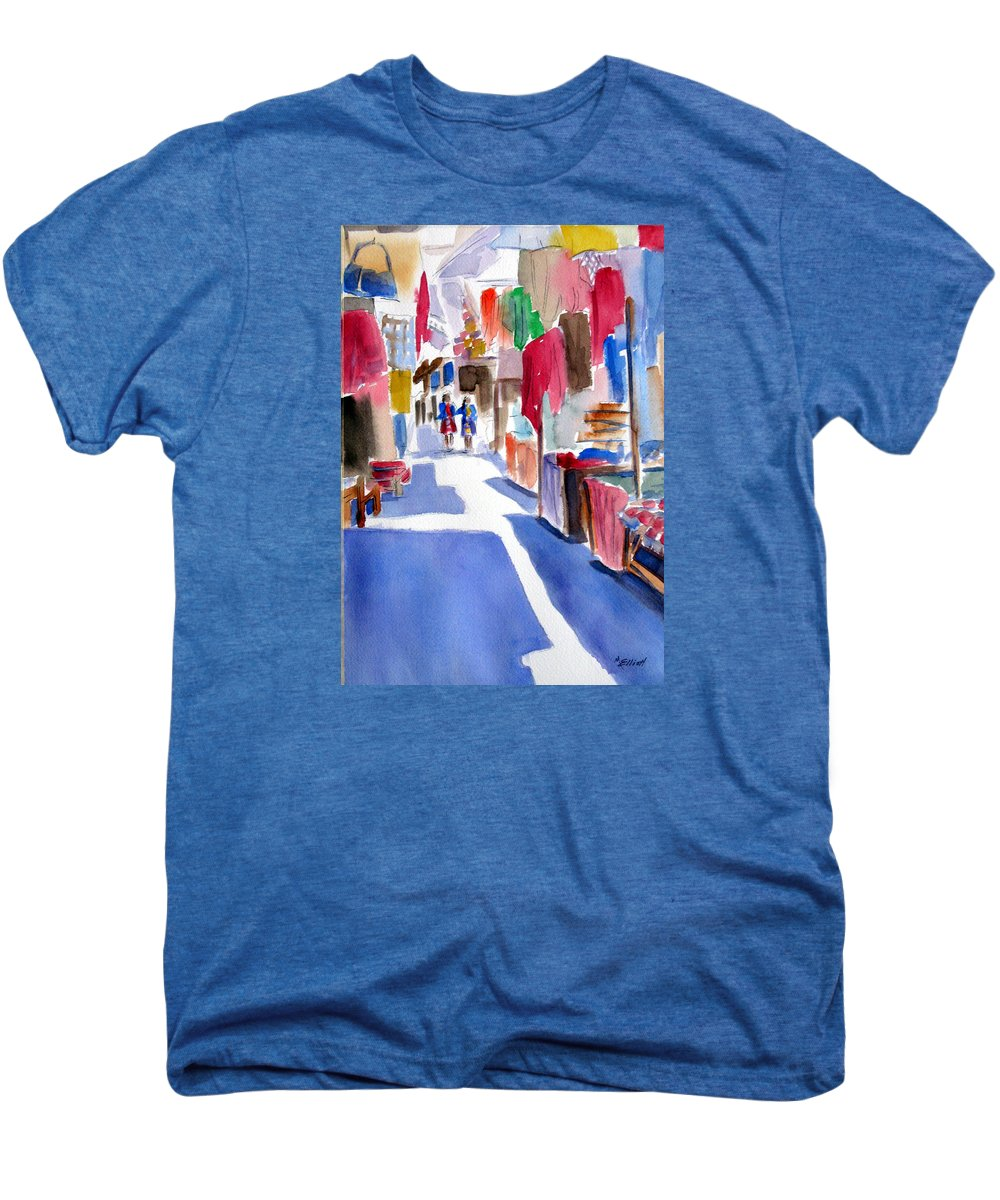 Market Men's Premium T-Shirt featuring the painting Sunny Day At The Market by Marsha Elliott