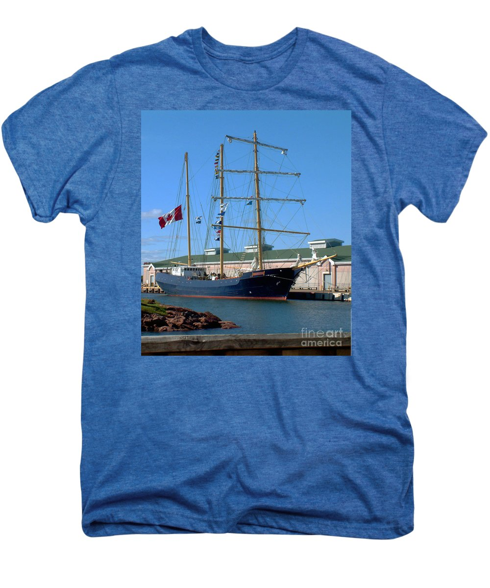 Dock Men's Premium T-Shirt featuring the photograph Tall Ship Waiting by RC DeWinter
